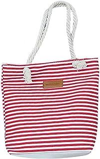 Fanspack Tote Bag Casual Stripe Handle Pouch Canvas Handbag Shoulder Shopping Bag Purse