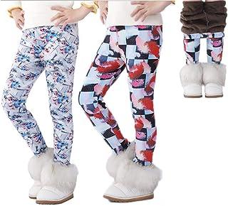DEYOU Paquete de 2 pantalones para niñas de invierno gruesos y cálidos pantalones largos con estampado floral de terciopel...
