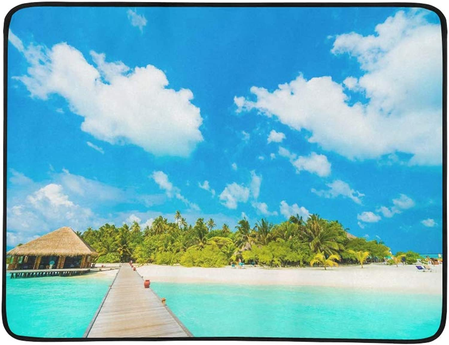Beautiful Tropical Maldives Resort Hotel and I Pattern Portable and Foldable Blanket Mat 60x78 Inch Handy Mat for Camping Picnic Beach Indoor Outdoor Travel