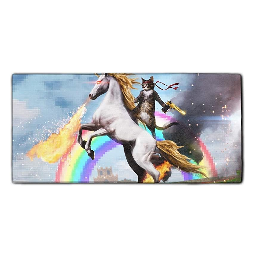 Unicorn Cat Beach and Bath Towel Natural Printed Towel Multi-purpose for Gym Yoga Camping Travel 11.8 x 27.5 Inches