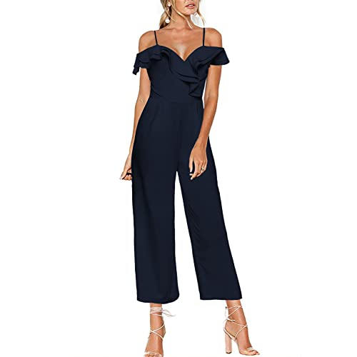1c0ec32c5f21 Luyeess Women s Straps Off Shoulder High Waist Ruffled Long Wide Leg  Jumpsuit