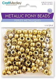 CraftMedley BD240A Metallic Pony Beads, 9x6mm Barrel, Gold