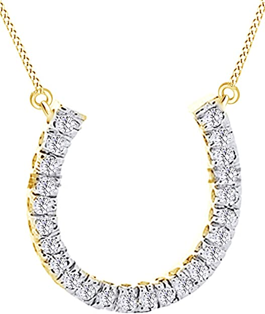 Wishrocks Round Cut White CZ Horseshoe in Circle Hip Hop Pendant 18K Gold Over Sterling Silver