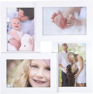 SONGMICS Collage Picture Frames, 4 x 6 Inches for 4 Photos, Picture Frames, Glass Front, Wall Hanging or Tabletop Stand, White URPF25WT