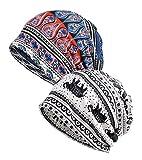 EEVASS Mujer Pañuelo Algodón Bandana Sombrero de Beanie Cabeza Transpirable Casquillo (# E, 2)