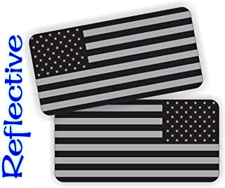 Pair – REFLECTIVE Stealthy American Flag Hard Hat Stickers | Black Ops Decals |..