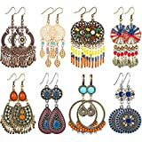 8 Pairs Bohemian Earrings Metal Earrings Hollow Earrings Retro Dangle Earrings Boho Hoop Earrings Set for Women Girls