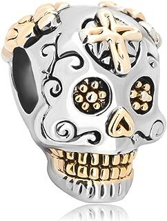 925 Sterling Silver Skull Charms Dia De Los Muertos Cross Beads Fit Pandora Charm Bracelets