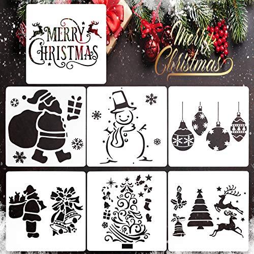 7 PCS Stencilplantillas,Stencilnavidad,Stencilplantillasnavidad reutilizable,Plantillasstencil christmas...