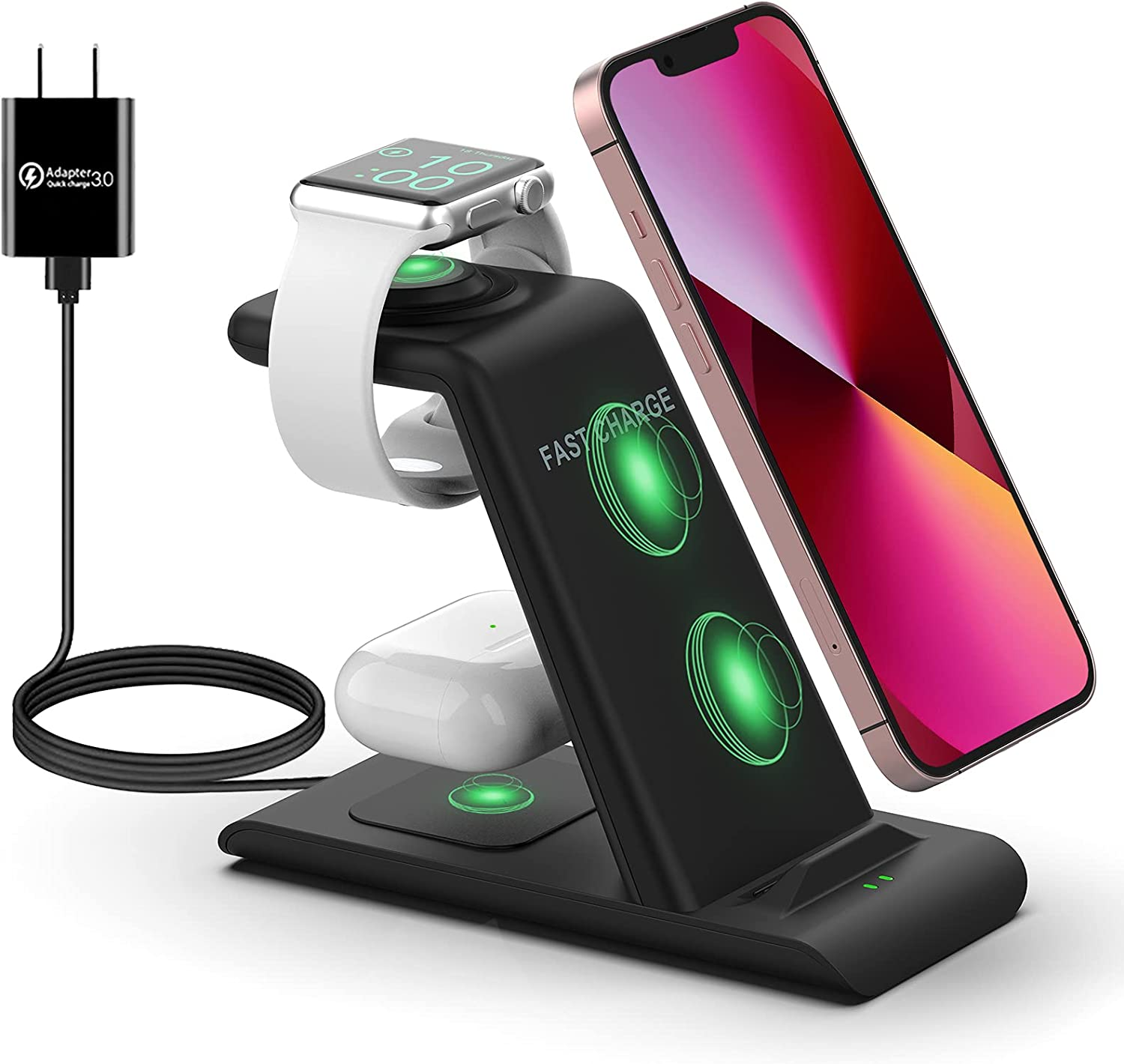 Wireless Charging Station for Apple Products 3 in 1 QI Wireless Charger Stand Dock Compatible with Apple Watch AirPods 3/2/Pro iPhone 13/12/11/Pro Max/X/XS/XR Multiple Devices Fast Wireless Charging