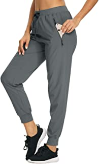 Xtansuo Women's Hiking Pants Lightweight Capris Quick Dry Water Resistant Drawstring Fishing UPF 50 Joggers Zipper Pockets