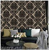 Dwind D1085 Papel Tapiz Floral Damasco con Cubierta de PVC, Lavable, Papel Pintado con Textura Floral Azul Amarillo Negro Para Decoración de Sala/Cocina/Comedor 0.45m x 3m