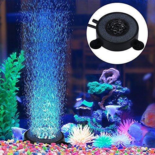 水族館 空気石 水槽気泡ストーン 丸形 バブルメイト 水槽装飾 水槽用 エアストーン 細かい気泡が出す いぶきエアーストーン 酸素補給される 6個LED水槽ライト付