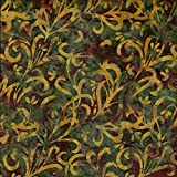 Fabric Freedom Batik-Stoff mit grünem Blüten-Design, 100%