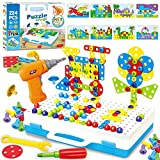 224 Pieces Creative Mosaic Drill Design Puzzle Set for Kids, Electric Drill and Screwdriver toy Tool DIY Educational Set, STEM Engineering Construction Projects for Boys and Girls Ages 3 4 5 6 7 8 9