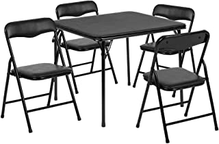 Flash Furniture Kids Black 5 Piece Folding Table and Chair Set