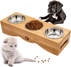 Raised Pet Bowls Elevated Feeding Bowl Dog Cat Feeder Bowls Water Food Bowl Dog Cat Pet Dish Pet Bowl Set with Stand and 3...