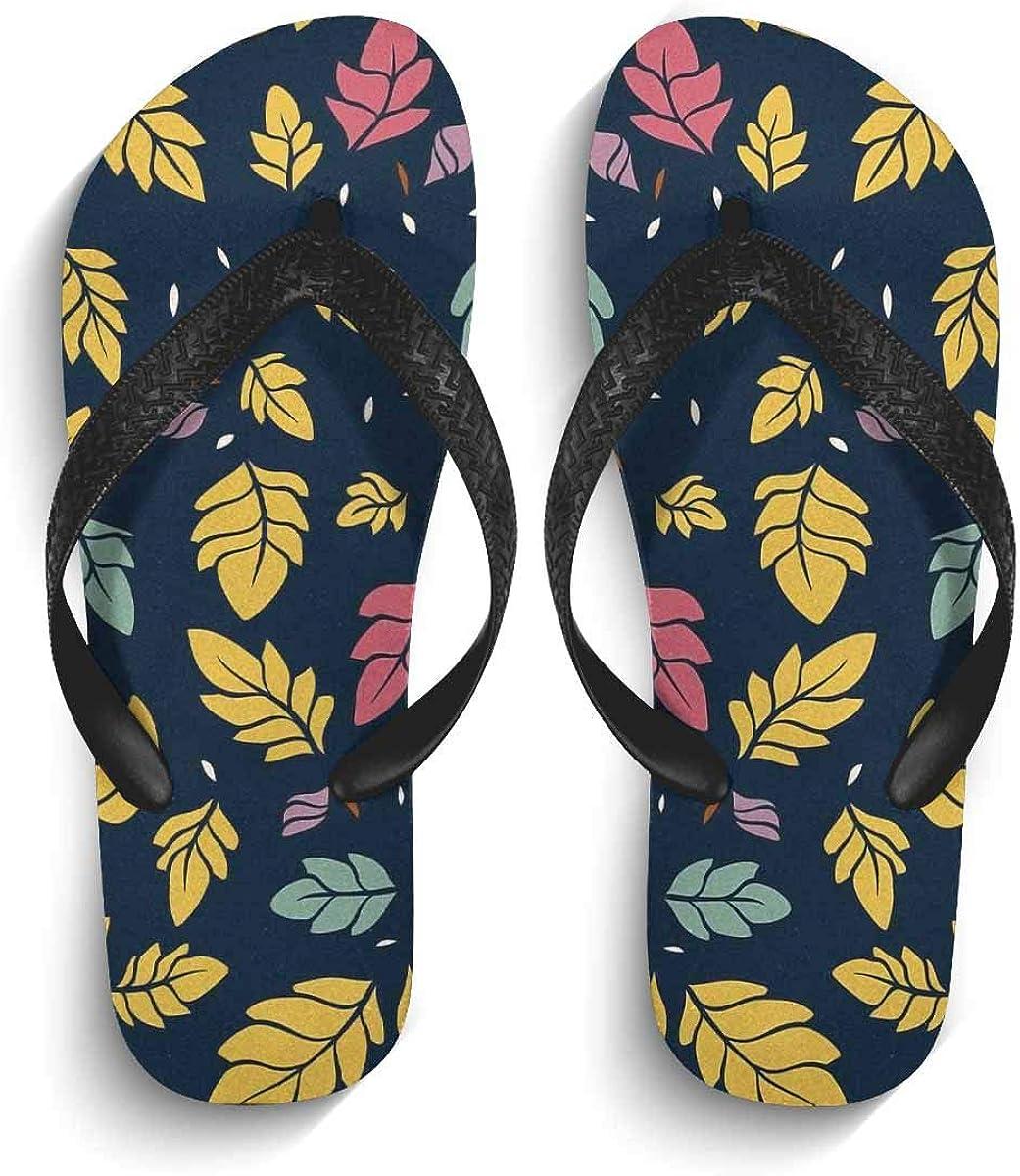 InterestPrint Men's Non-Slip Flip Flops Sandal Branches and Retro Oak Leaves Summer Beach Thong Slippers M