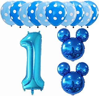 Hongkai Mickey Mouse 1st Birthday Boy Decorations Kids Boy First Decor Party Supplies Set Blue One Confetti foil Latex Balloons Happy Birthday Banner Number 1 Foil Balloons Kit