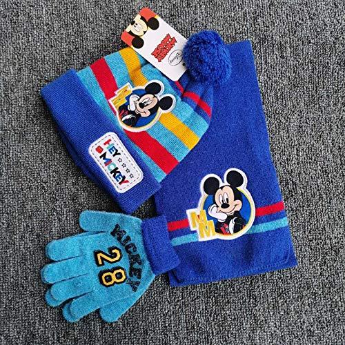 Greneric Ropa de otoño e invierno para niños de Spiderman, gorro, bufanda y guantes, juego de tres piezas, azul, rojo, amarillo y azul, nuevo Mickey