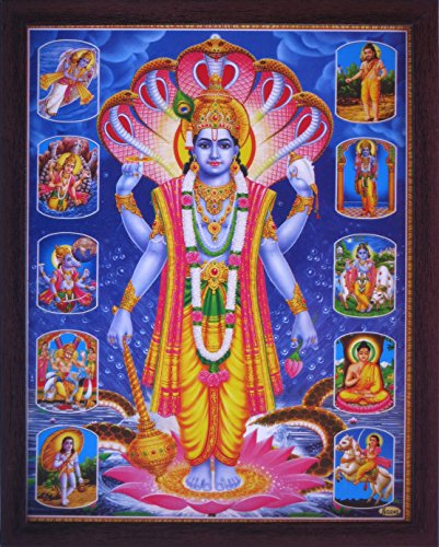 Handicraft Store Lord Vishnu Standing on Lotus Flower, Hood of Sheshnag and Surrounded by Hindu Gods, Poster Painting with framing, Must for Hindu Religious and Worship Purpose