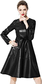 Women's Faux Leather Long Sleeve A-line Cocktail Party Dress with Belted(Dark Green,US 10)