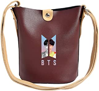 PINGJING BTS Bangtan Boys Women Summer Fashion PU Leather Handbag Bucket Bag Crossbody Totes Causal Shoulder Bag