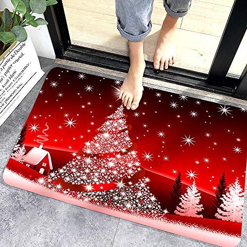 WELLXUNK Navidad Antideslizante Felpudo, Alfombras de Decoración de Navidad Antideslizante y Absorbente, Alfombrillas Decorativas para el Salón el Baño la Cocina