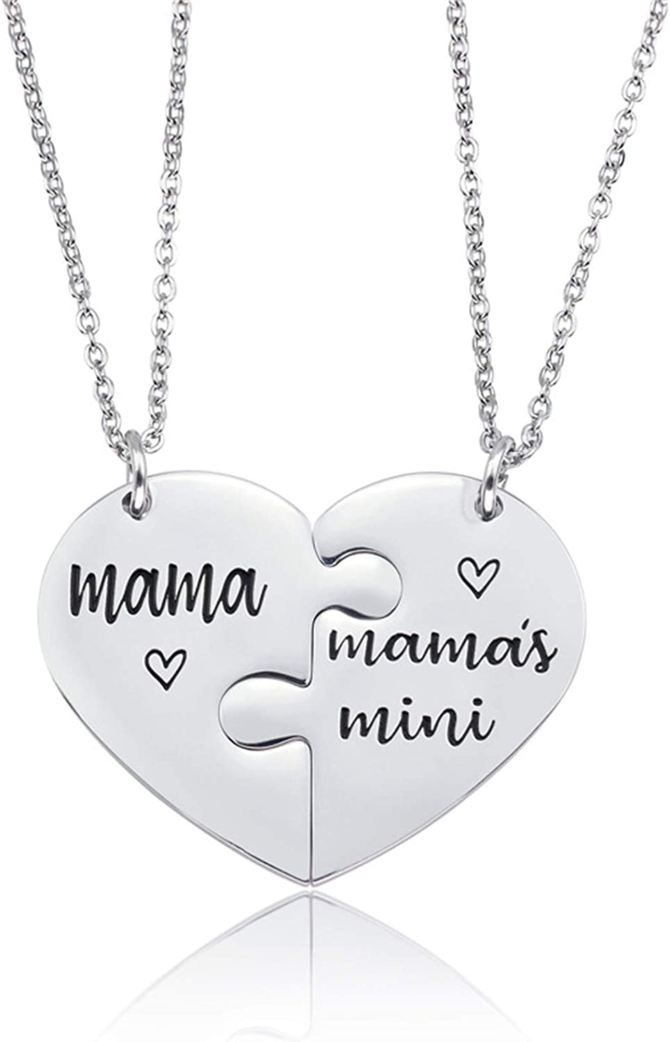 2Pcs Stainless Steel Mother Mom Daughter Puzzle Matching Pendant Necklace Set Engraved Love Heart Link Chain Necklace Christmas Mother's Day Jewelry Gifts