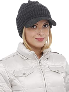 Gilbins Women Warm Winter Thick Slouchy Knit Snow Ski Hat with Visor