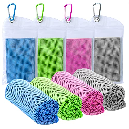 """4 Packs Cooling Towel,Ice Towel,Soft Breathable Chilly Towel,Microfiber Towel for Yoga,Golf,Sports,Running,Gym,Workout,Camping,Fitness,Workout,Hiking(40""""x12"""")"""