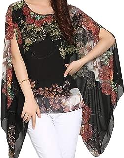 iNewbetter Women's Chiffon Caftan Poncho Tunic Top Floral Printed Shirt Cover Up Bohemian Batwing Blouse