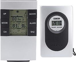 TOPINCN Estación Meteorológica Reloj Despertador Termómetro Digital inalámbrico Reloj Higrómetro Uso Doméstico 433MHz Frecuencia 7 Idiomas