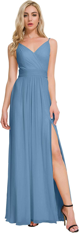 ALICEPUB V-Neck Bridesmaid Dresses for Women Chiffon Long Formal Party Evening Dress
