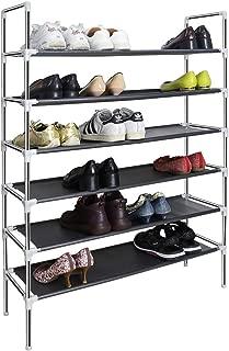 SAN LIKE 6 Tiers Metal Shoe Organizer,Sturdy Shoe Rack 30-Pair Stainless Steel Non-Woven Fabric Shoe Storage Rack