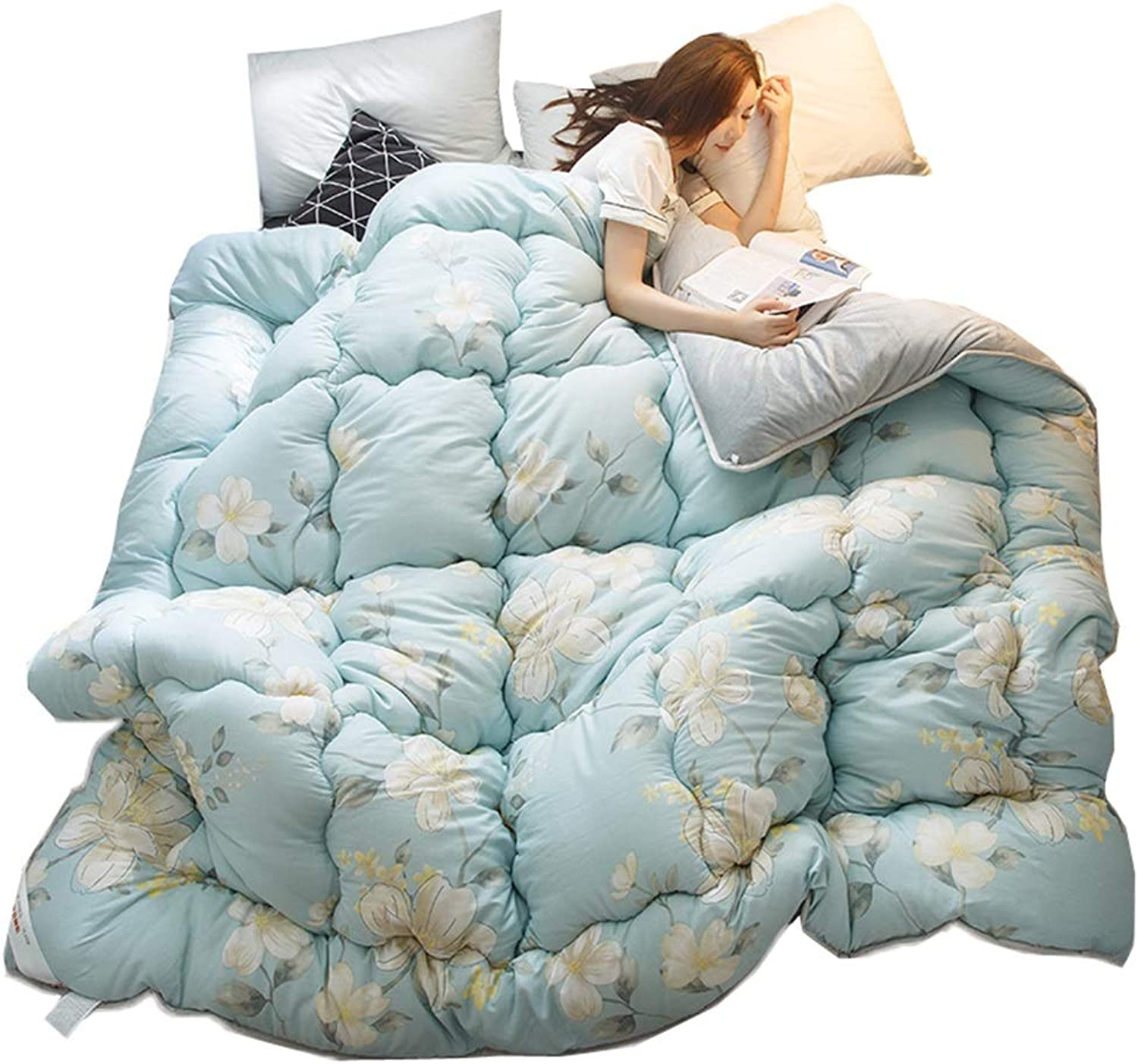 Quilted Comforter Corner Tabs Double Quilt Four Seasons Thicken Warm Soft All Season Single Double Quilt (Size   180cmx220cm3kg)