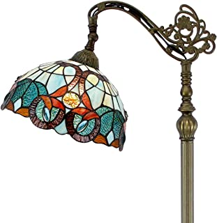 Tiffany Style Reading Floor Lamp Stained Glass with Green Blue Floral Lampshade 64 Inch Tall Antique Arched Base for Bedroom Living Room Lighting Table Set Gifts S802 WERFACTORY