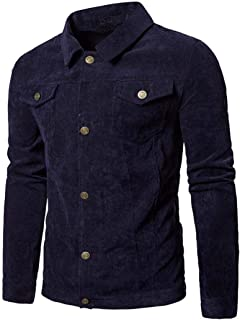 Cappotto da Uomo Turn Up Long Kord Tops Collar Jacket Coat Down A Maniche Lunghe Slim Fit Vintage Fashion Spring Autumn Ja...