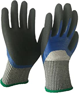 ATM A 5 Level Cut-Resistant Waterproof Safety Protect Hand Gloves Nitrile and Latex Dual Palm Coated for Gargen Work, Industrial Production, Glasses handling, Very Durable; (1, Medium)?