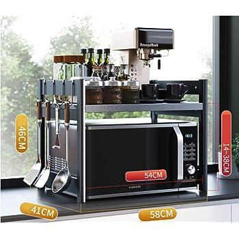Soporte para Horno de Microondas con Rack de Almacenamiento Organizador para Cocina 57 * 38 * 38cm Estanter/ías para Horno Microondas Negro Estante de Almacenamiento de Escritorio de Cocina