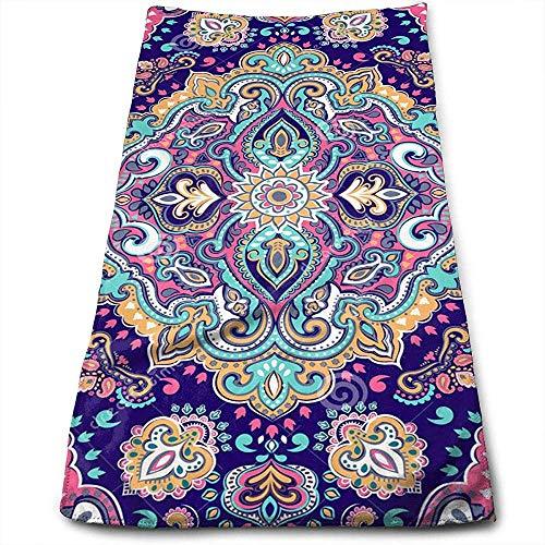Bert-Collins Towel Boho Style Figures De Mandala Personnalité De Fête Motif Amusant Visage Serviettes Fibre Superfine Super Absorbant Doux Serviettes De Gym