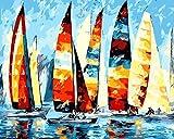 Vacio Pintar por Numeros Kits DIY Pintura por Números para velero Regalo para Adultos Niños DIY Pintura al óleo para Decoraciones para el Hogar 40*50 cm(Sin Marco)