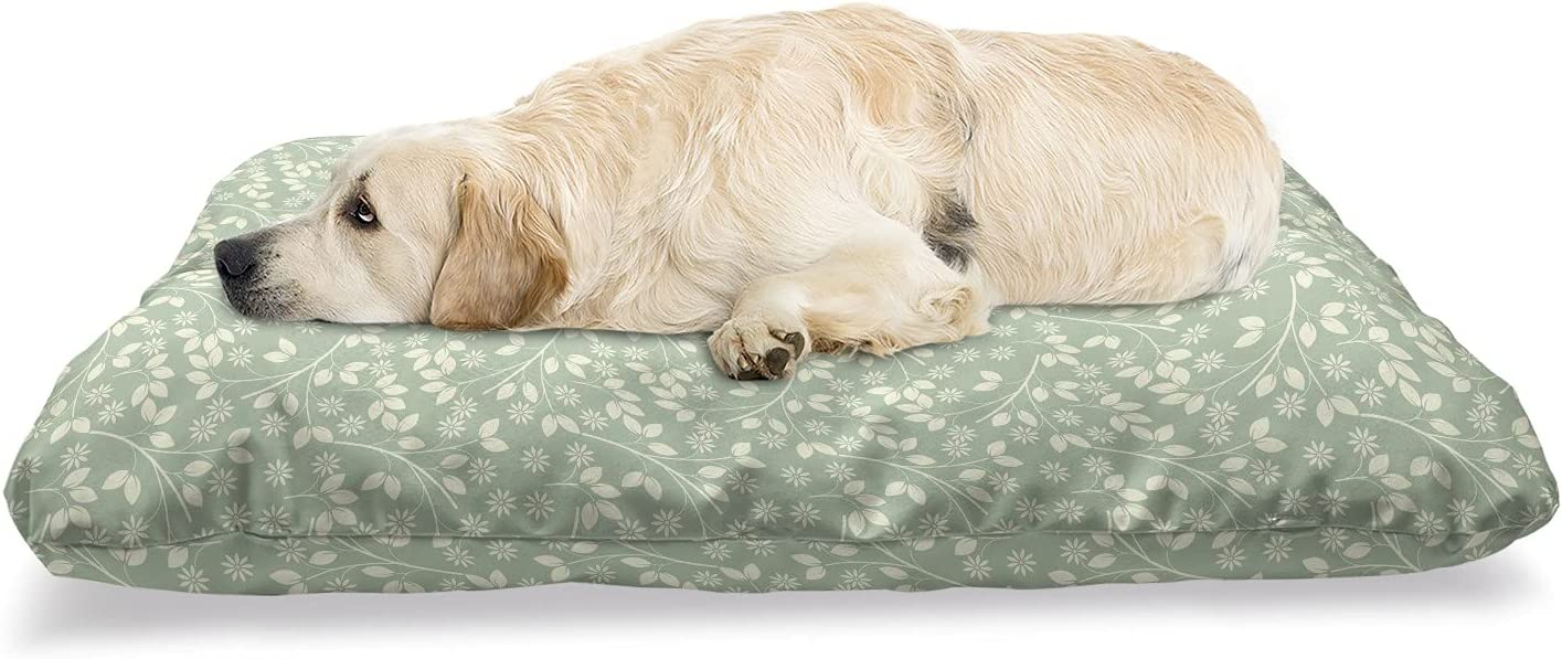 Ambesonne New popularity Ivory Spanish Pet Bed Direct sale of manufacturer Branches Growing Repeating Past