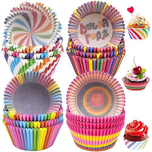 Pirottini per Cupcake e Muffin,COTEY 400 Pezzi Arcobaleno Pirottini di Carta,Pirottini Muffin da Forno Usa e Getta,Coppetta di Carta Rainbow per Gelatine Dessert Torta Compleanni Feste Decorazione