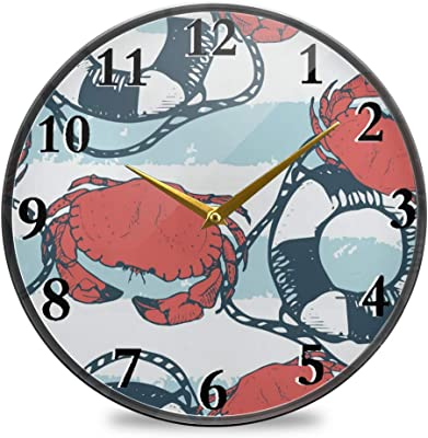 ColorMu Wall Clock Diameter 9.5 Inch White Rabbit and Easter Eggs ...