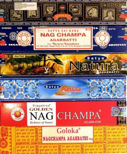 BASTONCINI D'INCENSO Satya Goloka fragranza Nag Champa in diverse varietà - Confezione risparmio 120 bastoncini - Incenso naturale profumato indiano