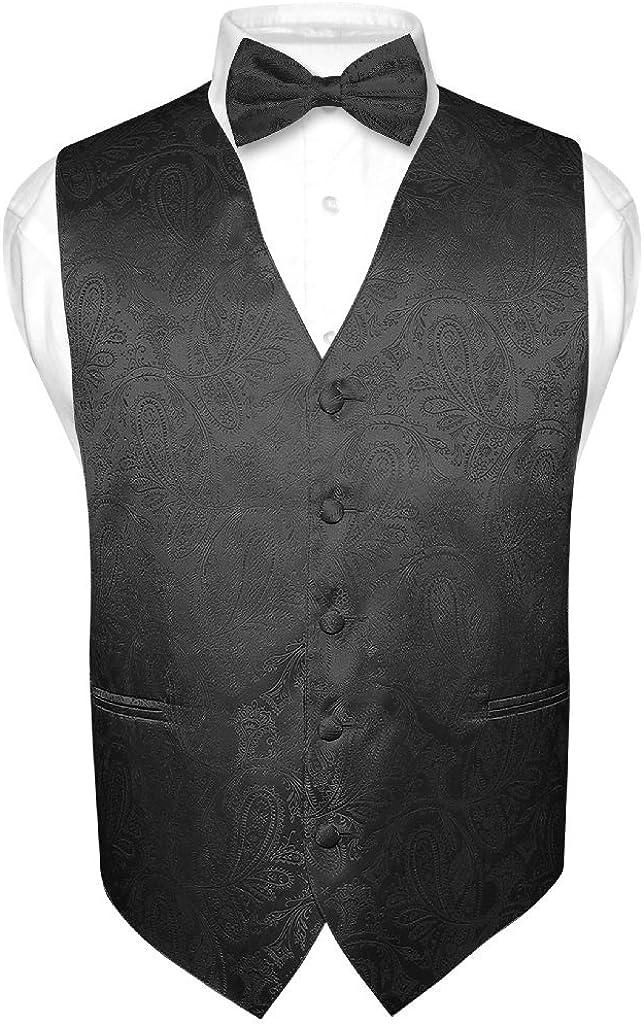 Limited price sale Men's Paisley Design Dress Miami Mall Vest for Tie Set BLACK Bow
