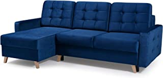 Vegas Futon Sectional Sofa Bed, Queen Sleeper with Storage, Navy Blue