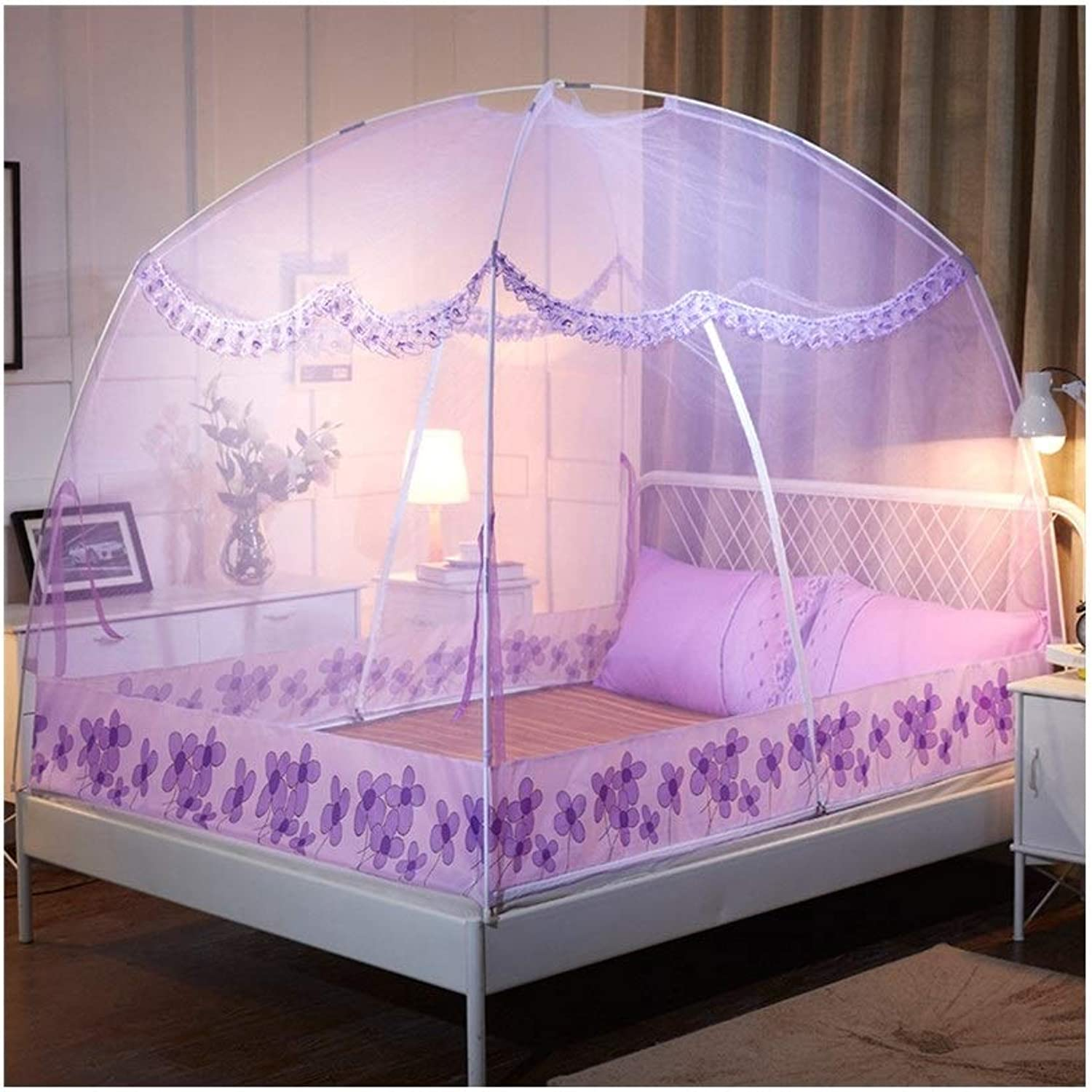 Mongolian yurt Mosquito net Free Inssizetion Double Door Home Tent Bracket encryption Thickening Folding Anti-Fall for 1.5 m Bed 1.8 m Bed (color   Purple, Size   1.8M Bed)