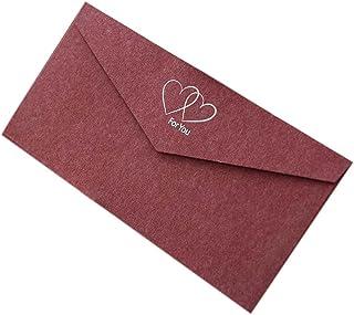 20pcs Retro Red Invitation Envelopes Kraft Paper Greeting Cards for Business, Wedding, Baby Shower